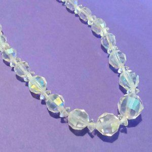 Vintage Clear Faceted Crystal Choker Necklace
